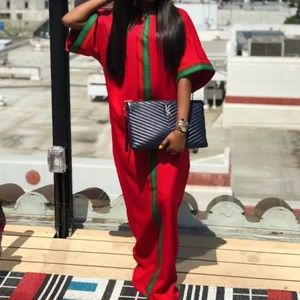 Red & Green maxi dress